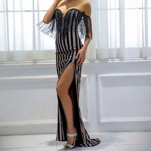 Fringe Off-Shoulder Dress